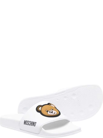 Moschino White Teen Slippers