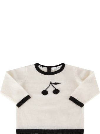 Bonpoint Ivory Sweater For Babygirl With Cherries