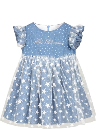 Blumarine Blue Dress For Babygirl With Stars