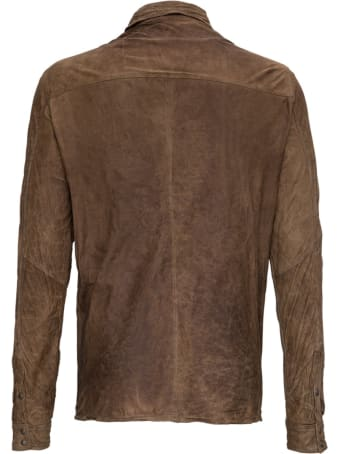 Giorgio Brato Wrinkled Brown Leather Shirt