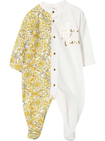 Young Versace White And Gold Romper With Baroque Print