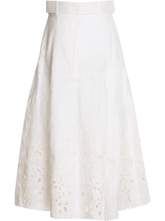 Zimmermann Peggy Embroidered Button-through Midi Skirt