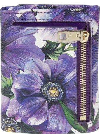 Dolce & Gabbana Floral Print Logo Plaque Continental Wallet