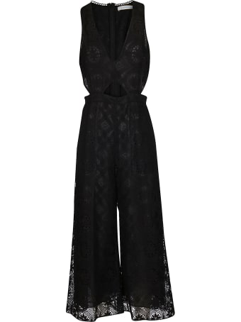 Olivia Palermo Black Cotton Blend Jumpsuit