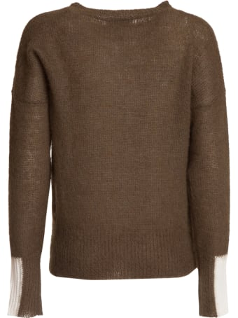 Essentiel Antwerp Essentiel Khaki Green Light Knit Sweater With Contrasting Cuffs
