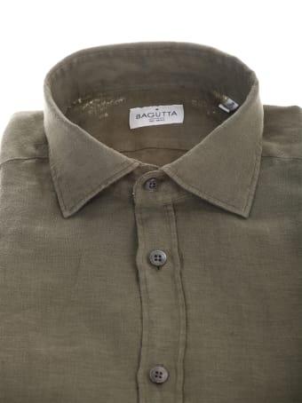 Bagutta military green linen shirt