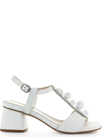 Jeannot White Leather Mid-heeled Sandal