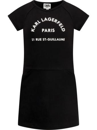 Karl Lagerfeld Kids Black Dress For Girl With Logo