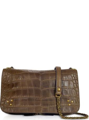 Jerome Dreyfuss Bobi Khaki Croco Embossed Leather Shoulder Bag