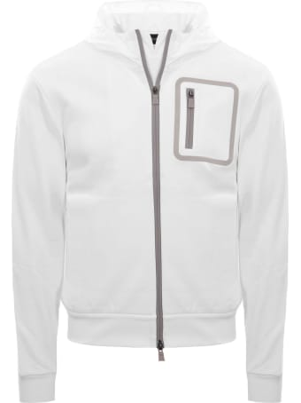 Herno White Cotton Bomber Sweater