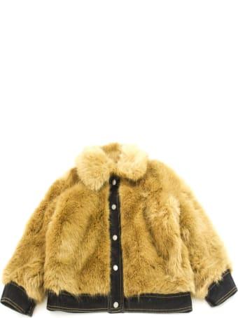 Stella McCartney Brown Faux Fur Buttoned Jacket