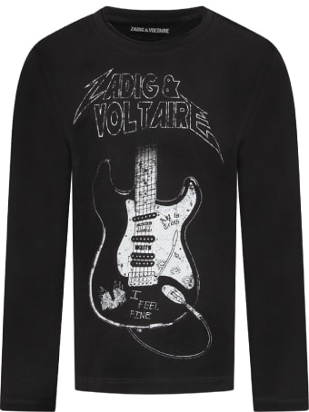 Zadig & Voltaire Black Boy T-shirt With White Logo And Guitar