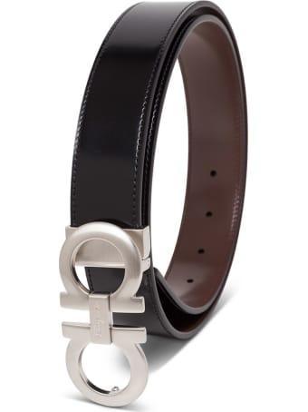Salvatore Ferragamo Reversible Bicolor Leather Belt With Double Hook Buckle
