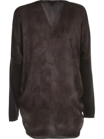 Avant Toi Oversized V Neck Cardigan W/ Silk Flower Details