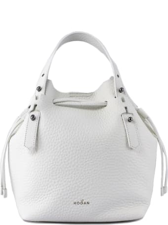 Hogan Bucket Bag In White Leather