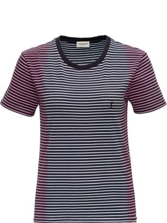 Saint Laurent T-shirt Striped Jersey Tie Dye
