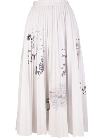 Ermanno Scervino Pleated Midi Skirt With Graffiti Print