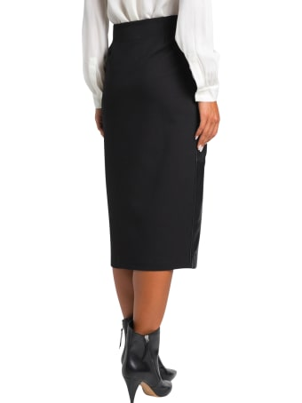 Parosh Maze Midi Skirt In Leather And Jersey