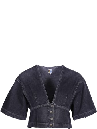 Jean Atelier Cropped Denim Blouse