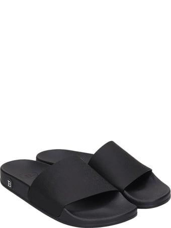 Balmain Flats In Black Leather