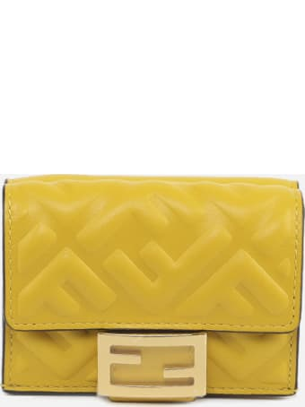 Fendi Baguette Wallet In Leather With All-over Ff Motif