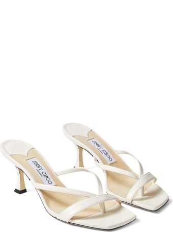 Jimmy Choo Maelie White Leather Mules