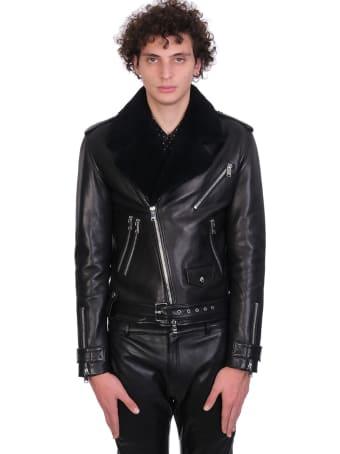 Jacob Lee Biker Jacket In Black Leather