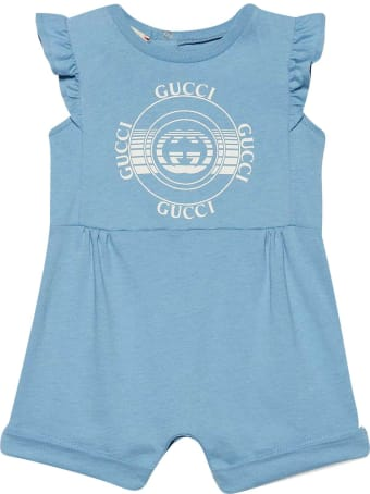 Gucci Blue Romper With White Print