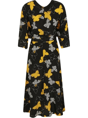 RED Valentino Tie-waist Butterfly Printed Dress