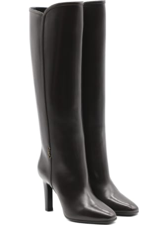 Saint Laurent Jane Monogram Boots In Smooth Leather