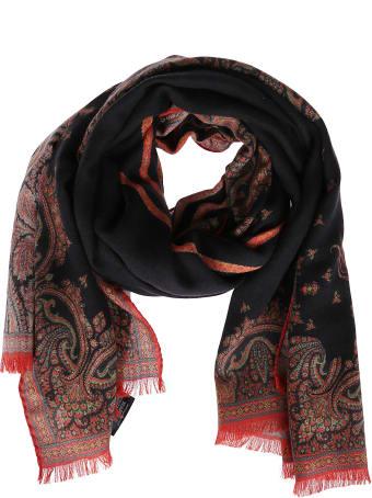 Etro Black Silk-cashmere Blend Scarf