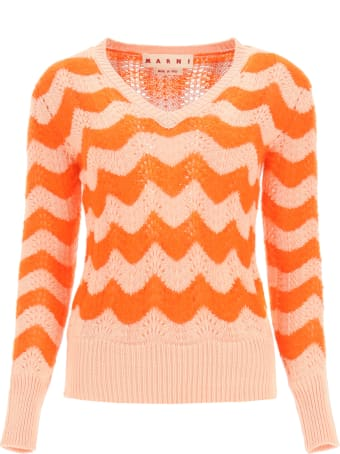 Marni Perforated Sweater With Wavy Stripes