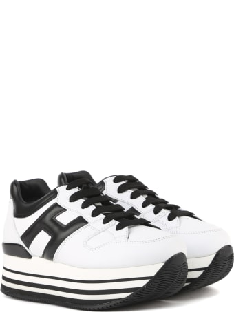 Hogan Maxi H222 White, Black Leather Sneakers
