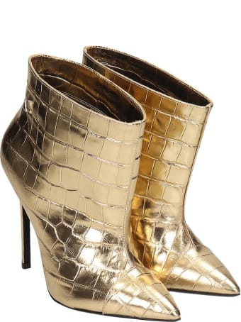 Grey Mer High Heels Ankle Boots In Gold Leather