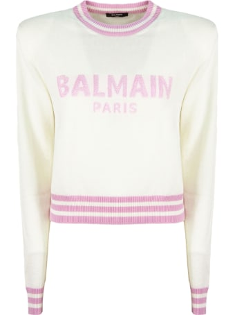 Balmain White Wool Cashmere Jumper