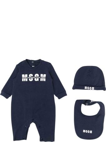 MSGM Blue Romper With Logo, Hat And Bib