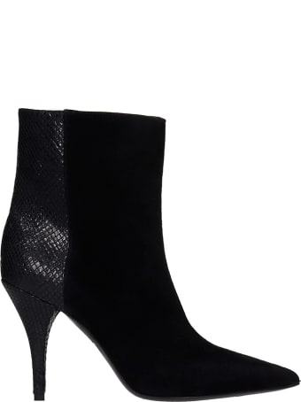 Alchimia Low Heels Ankle Boots In Black Suede And Leather