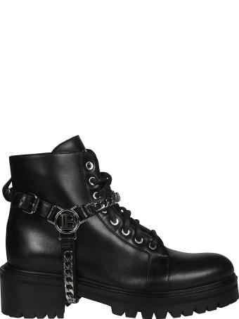 Balmain Logo Chain Combat Boots