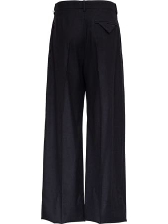 Bottega Veneta Wide Leg Pants In Gray Flannel