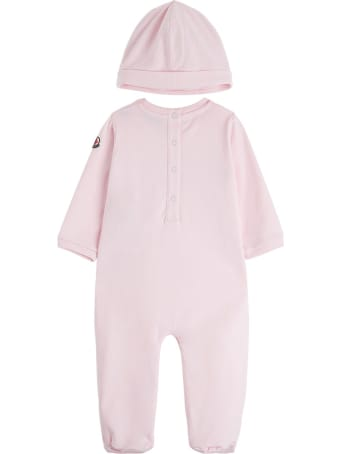 Moncler Onesie And Hat Suit  In Pink Jersey