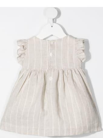 Il Gufo Newborn Beige Linen Striped Dress With Bows