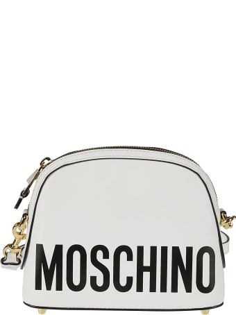 Moschino Top Zip Logo Print Shoulder Bag