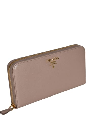 Prada Saffiano Metal Plaque Zip-around Wallet
