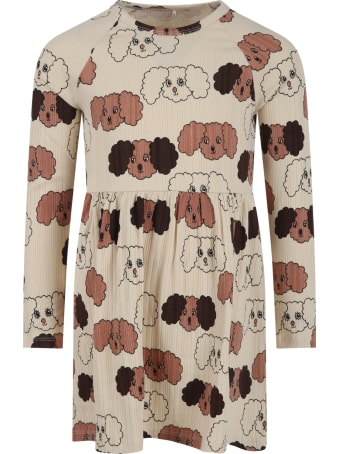 Mini Rodini Beige Dress For Girl With Dogs