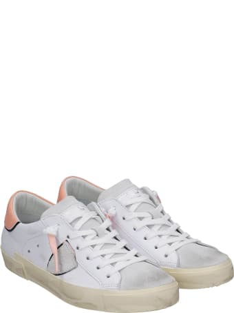 Philippe Model Prsx Sneakers In White Suede And Leather