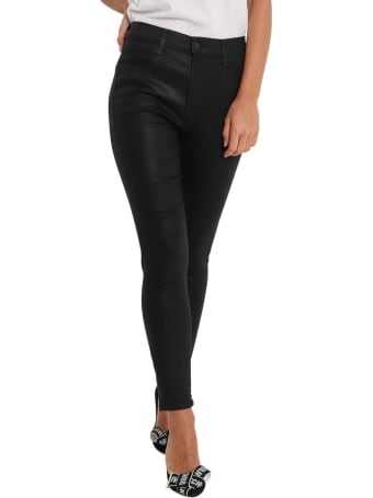 J Brand Cropped Skinny Alana Jeans In Coated Denim