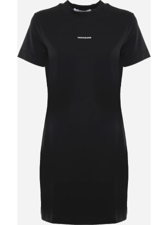 Calvin Klein Jeans Cotton T-shirt Dress With Printed Micro Logo