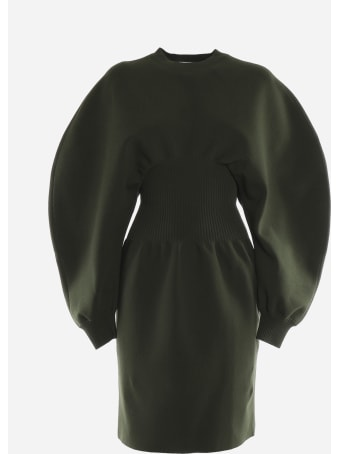 Bottega Veneta Stretch Wool Dress With Voluminous Sleeves