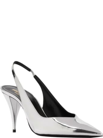 Saint Laurent Kiki Slingbacks In Silver Leather