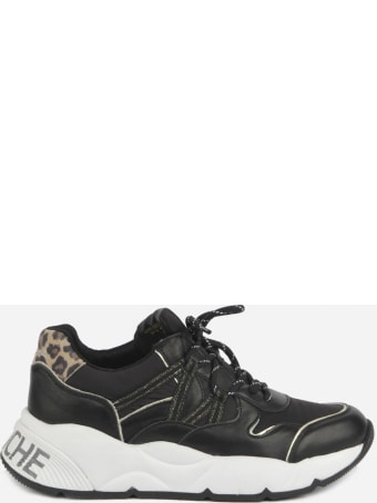 Voile Blanche Sneakers In Technical Fabric And Leather With Animalier Print Heel Tab